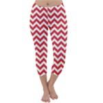 Poppy Red & White Zigzag Pattern Capri Winter Leggings