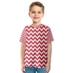 Poppy Red & White Zigzag Pattern Kid s Sport Mesh Tee