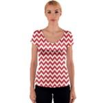 Poppy Red & White Zigzag Pattern Women s V-Neck Cap Sleeve Top