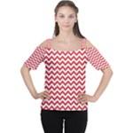 Poppy Red & White Zigzag Pattern Women s Cutout Shoulder Tee