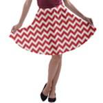 Poppy Red & White Zigzag Pattern A-line Skater Skirt