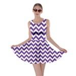 Royal Purple & White Zigzag Pattern Skater Dress