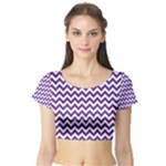 Royal Purple & White Zigzag Pattern Short Sleeve Crop Top (Tight Fit)