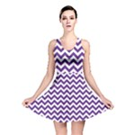 Royal Purple & White Zigzag Pattern Reversible Skater Dress