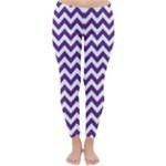 Royal Purple & White Zigzag Pattern Winter Leggings