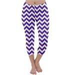 Royal Purple & White Zigzag Pattern Capri Winter Leggings