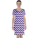 Royal Purple & White Zigzag Pattern Short Sleeve Nightdress