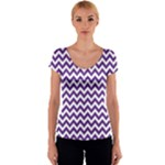 Royal Purple & White Zigzag Pattern Women s V-Neck Cap Sleeve Top