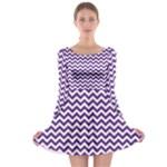 Royal Purple & White Zigzag Pattern Long Sleeve Skater Dress