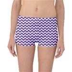 Royal Purple & White Zigzag Pattern Boyleg Bikini Bottoms