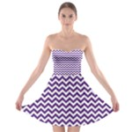 Royal Purple & White Zigzag Pattern Strapless Dresses