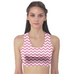Soft Pink & White Zigzag Pattern Sports Bra