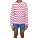 Soft Pink & White Zigzag Pattern Kid s Long Sleeve Swimwear