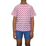 Soft Pink & White Zigzag Pattern Kid s Short Sleeve Swimwear