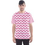 Soft Pink & White Zigzag Pattern Men s Sport Mesh Tee