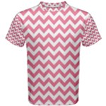 Soft Pink & White Zigzag Pattern Men s Cotton Tee