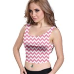 Soft Pink & White Zigzag Pattern Crop Top