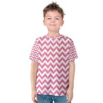 Soft Pink & White Zigzag Pattern Kid s Cotton Tee