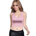 Soft Pink & White Zigzag Pattern Racer Back Crop Top