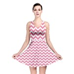 Soft Pink & White Zigzag Pattern Reversible Skater Dress