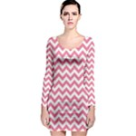 Soft Pink & White Zigzag Pattern Long Sleeve Bodycon Dress