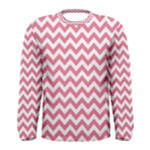 Soft Pink & White Zigzag Pattern Men s Long Sleeve Tee