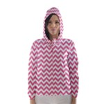 Soft Pink & White Zigzag Pattern Hooded Wind Breaker (Women)
