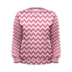 Soft Pink & White Zigzag Pattern Women s Sweatshirt