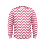Soft Pink & White Zigzag Pattern Kids  Sweatshirt