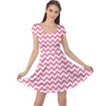 Soft Pink & White Zigzag Pattern Cap Sleeve Dresses