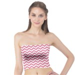 Soft Pink & White Zigzag Pattern Tube Top