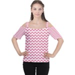 Soft Pink & White Zigzag Pattern Women s Cutout Shoulder Tee
