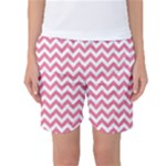 Soft Pink & White Zigzag Pattern Women s Basketball Shorts