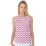 Soft Pink & White Zigzag Pattern Women s Basketball Tank Top