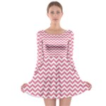 Soft Pink & White Zigzag Pattern Long Sleeve Skater Dress