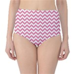 Soft Pink & White Zigzag Pattern High-Waist Bikini Bottoms