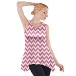 Soft Pink & White Zigzag Pattern Side Drop Tank Tunic