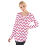 Soft Pink & White Zigzag Pattern Women s Tie Up Tee