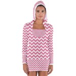 Soft Pink & White Zigzag Pattern Women s Long Sleeve Hooded T-shirt