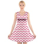 Soft Pink & White Zigzag Pattern V-Neck Sleeveless Skater Dress