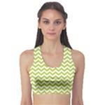 Spring Green & White Zigzag Pattern Sports Bra