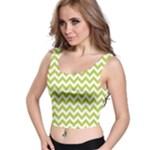 Spring Green & White Zigzag Pattern Crop Top