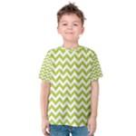 Spring Green & White Zigzag Pattern Kid s Cotton Tee
