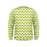Spring Green & White Zigzag Pattern Kids  Sweatshirt