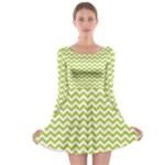 Spring Green & White Zigzag Pattern Long Sleeve Skater Dress