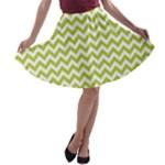 Spring Green & White Zigzag Pattern A-line Skater Skirt