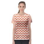 Tangerine Orange & White Zigzag Pattern Women s Sport Mesh Tee