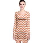 Tangerine Orange & White Zigzag Pattern Long Sleeve Bodycon Dress