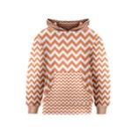 Tangerine Orange & White Zigzag Pattern Kids  Pullover Hoodie