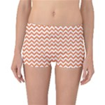 Tangerine Orange & White Zigzag Pattern Boyleg Bikini Bottoms